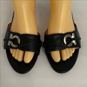 Salvatore Ferragamo black leather mules sandals 11